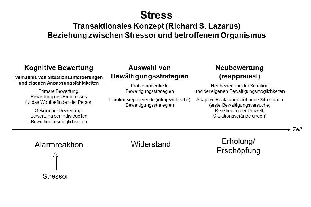 Stress Transaktionales Konzept (Richard S. Lazarus) Beziehung zwischen Stressor und betroffenem Organismus Kognitive Bewertung Verhältnis von Situatio