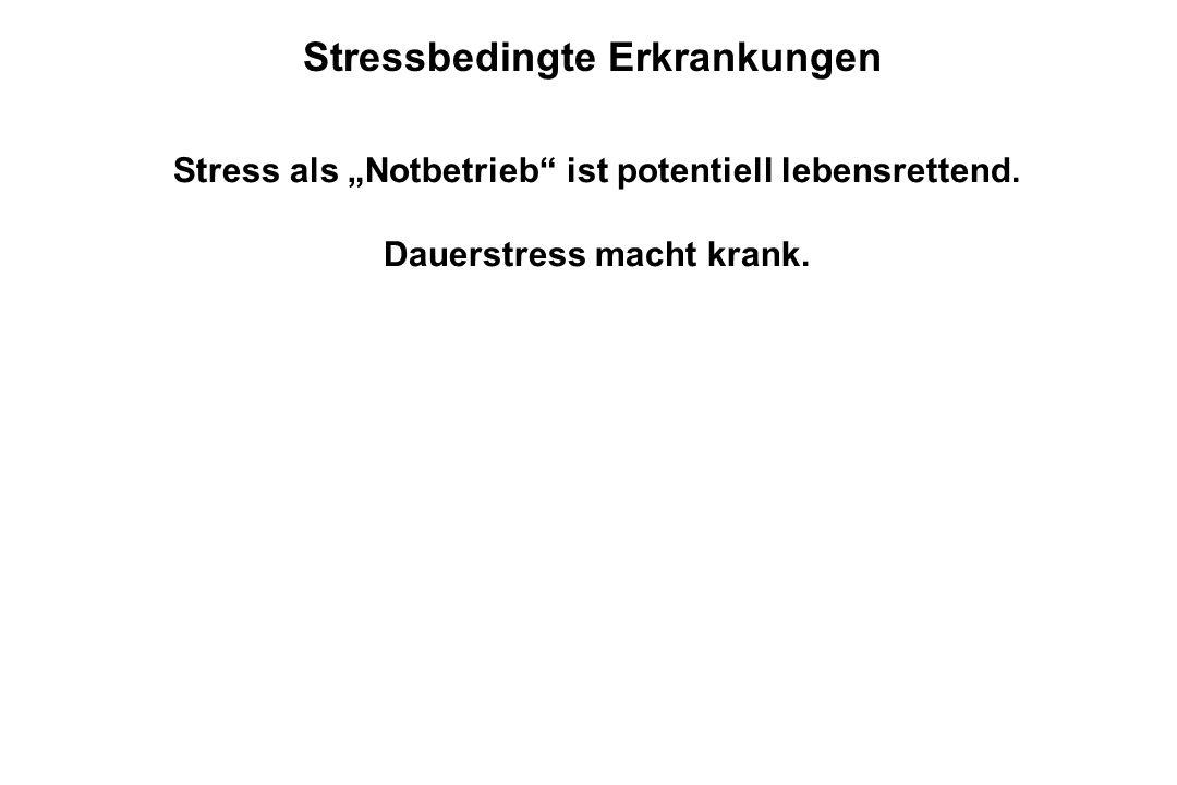 """Stressbedingte Erkrankungen Stress als """"Notbetrieb"""" ist potentiell lebensrettend. Dauerstress macht krank."""