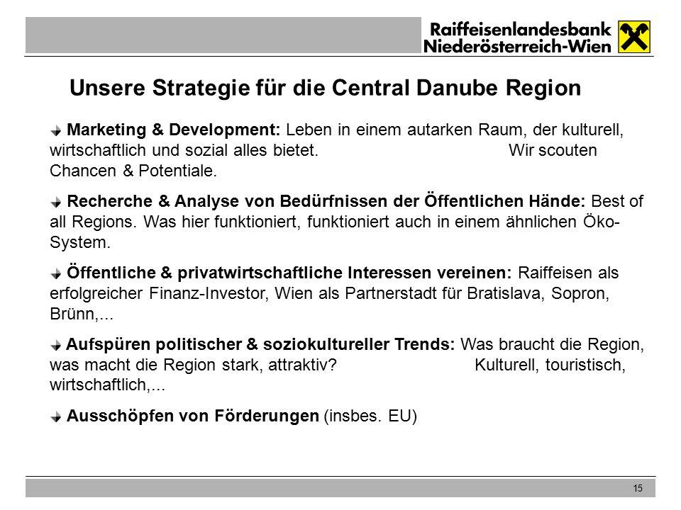 15 Unsere Strategie für die Central Danube Region Marketing & Development: Leben in einem autarken Raum, der kulturell, wirtschaftlich und sozial alles bietet.