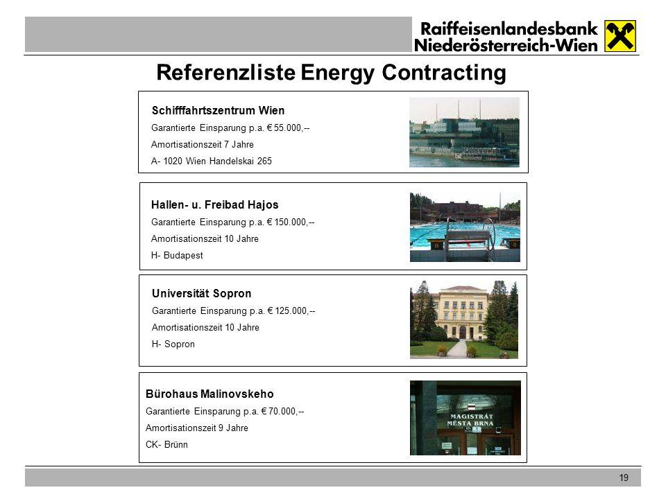 19 Referenzliste Energy Contracting Schifffahrtszentrum Wien Garantierte Einsparung p.a.