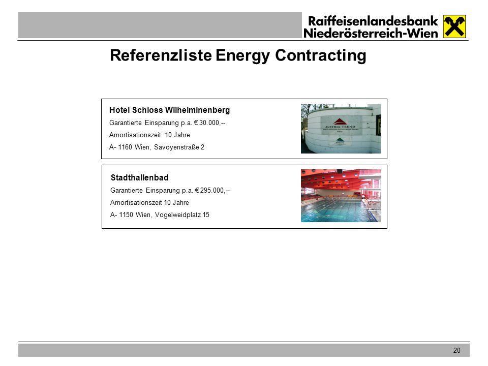 20 Referenzliste Energy Contracting Hotel Schloss Wilhelminenberg Garantierte Einsparung p.a.