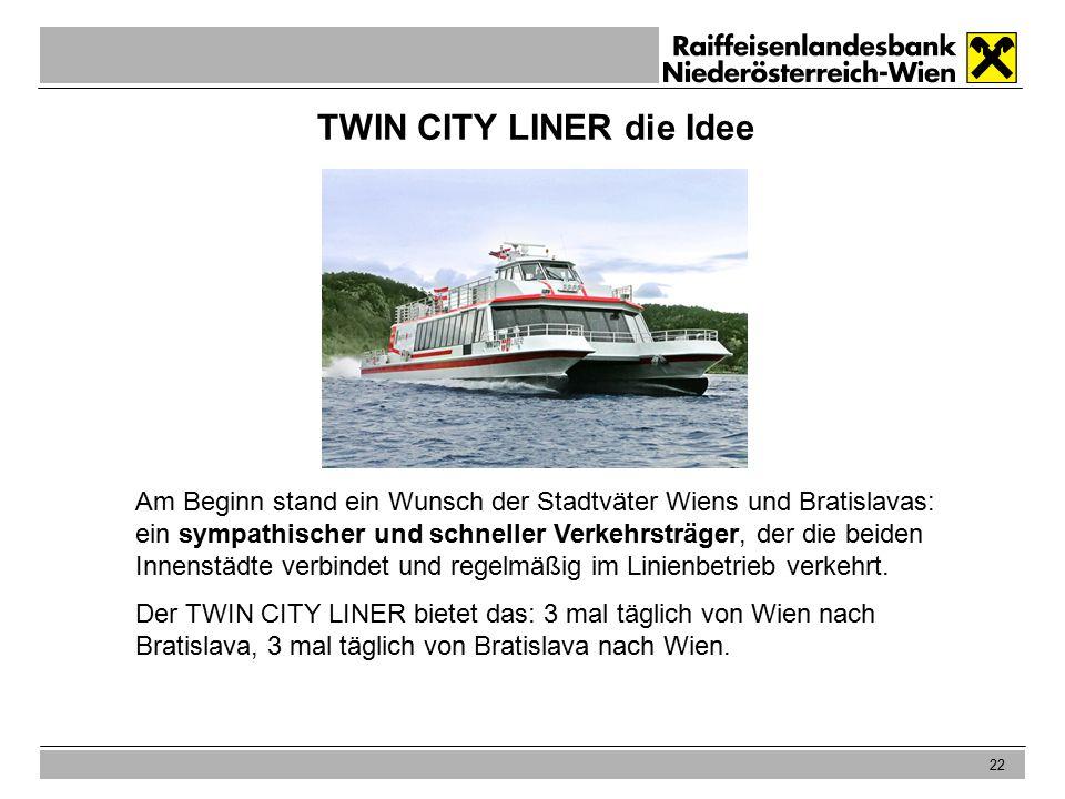 22 TWIN CITY LINER die Idee Am Beginn stand ein Wunsch der Stadtväter Wiens und Bratislavas: ein sympathischer und schneller Verkehrsträger, der die beiden Innenstädte verbindet und regelmäßig im Linienbetrieb verkehrt.