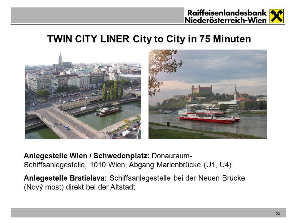 23 TWIN CITY LINER City to City in 75 Minuten Anlegestelle Wien / Schwedenplatz: Donauraum- Schiffsanlegestelle, 1010 Wien, Abgang Marienbrücke (U1, U4) Anlegestelle Bratislava: Schiffsanlegestelle bei der Neuen Brücke (Nový most) direkt bei der Altstadt