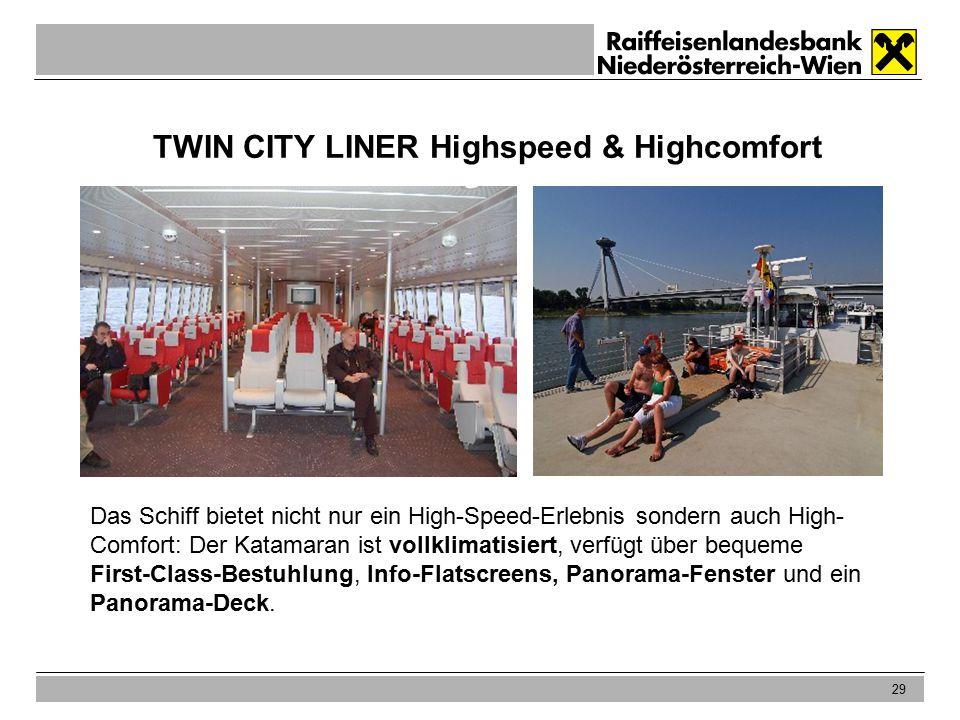 29 TWIN CITY LINER Highspeed & Highcomfort Das Schiff bietet nicht nur ein High-Speed-Erlebnis sondern auch High- Comfort: Der Katamaran ist vollklimatisiert, verfügt über bequeme First-Class-Bestuhlung, Info-Flatscreens, Panorama-Fenster und ein Panorama-Deck.