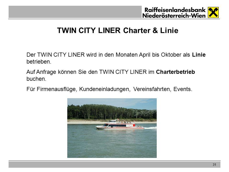 31 TWIN CITY LINER Charter & Linie Der TWIN CITY LINER wird in den Monaten April bis Oktober als Linie betrieben.