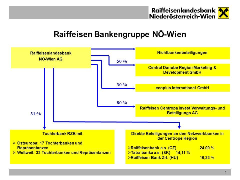 4 Raiffeisen Bankengruppe NÖ-Wien Raiffeisenlandesbank NÖ-Wien AG Tochterbank RZB mit  Osteuropa: 17 Tochterbanken und Repräsentanzen  Weltweit: 33 Tochterbanken und Repräsentanzen Nichtbankenbeteiligungen 31 % Central Danube Region Marketing & Development GmbH ecoplus International GmbH Raiffeisen Centropa Invest Verwaltungs- und Beteiligungs AG 50 % 30 % Direkte Beteiligungen an den Netzwerkbanken in der Centrope Region  Raiffeisenbank a.s.