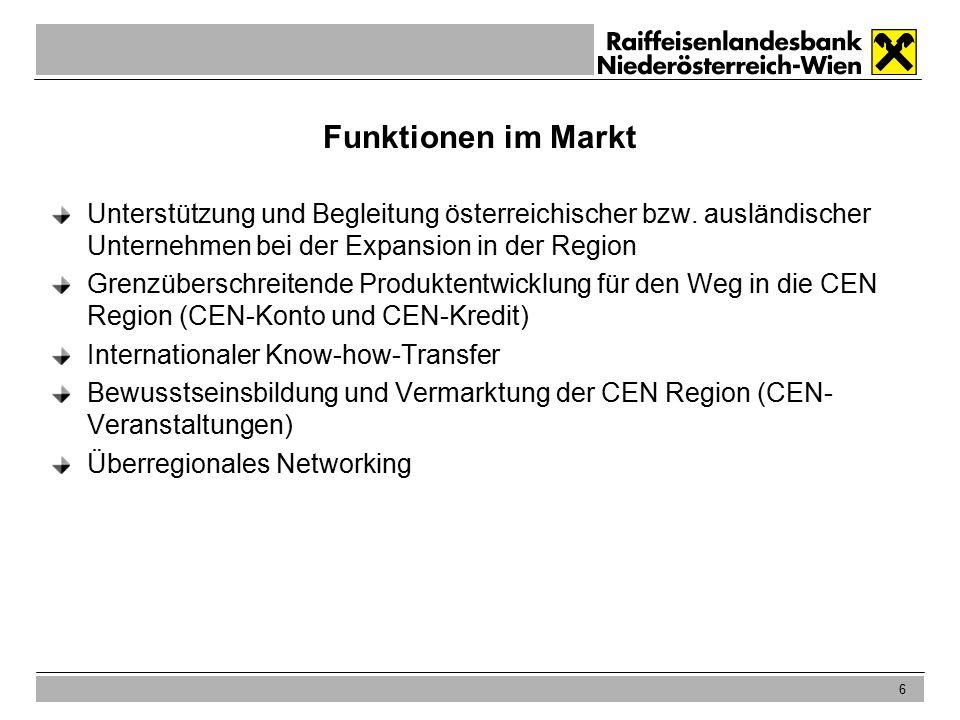 6 Funktionen im Markt Unterstützung und Begleitung österreichischer bzw.