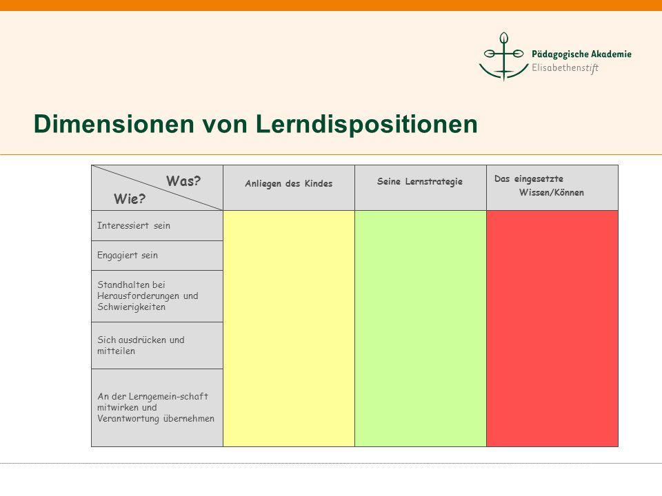 Dimensionen von Lerndispositionen An der Lerngemein-schaft mitwirken und Verantwortung übernehmen Sich ausdrücken und mitteilen Standhalten bei Heraus