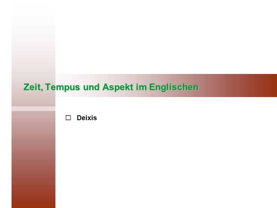 Zeit, Tempus und Aspekt im Englischen   Deixis