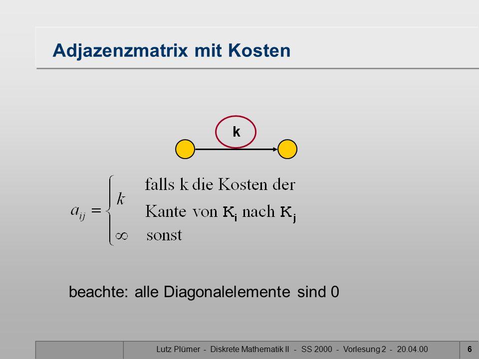 Lutz Plümer - Diskrete Mathematik II - SS 2000 - Vorlesung 2 - 20.04.006 Adjazenzmatrix mit Kosten k beachte: alle Diagonalelemente sind 0