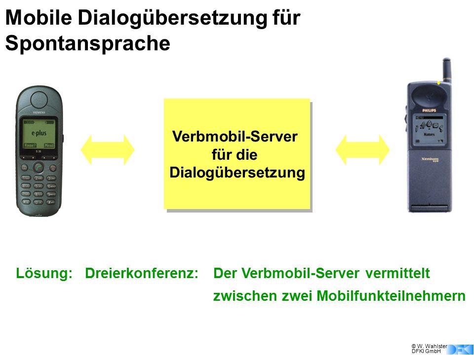© W. Wahlster DFKI GmbH Mobile Dialogübersetzung für Spontansprache Verbmobil-Server für die Dialogübersetzung Lösung:Dreierkonferenz: Der Verbmobil-S