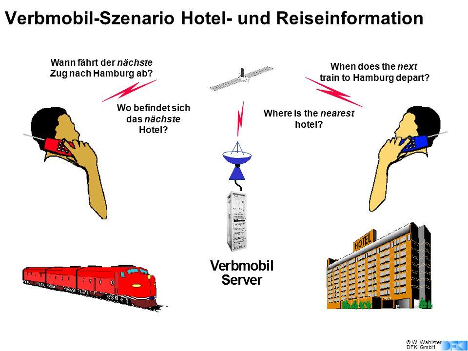 © W. Wahlster DFKI GmbH Verbmobil Server Wann fährt der nächste Zug nach Hamburg ab? When does the next train to Hamburg depart? Wo befindet sich das