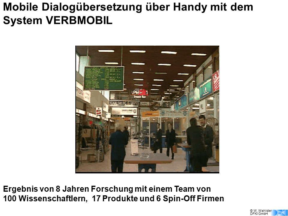 © W. Wahlster DFKI GmbH Mobile Dialogübersetzung über Handy mit dem System VERBMOBIL Ergebnis von 8 Jahren Forschung mit einem Team von 100 Wissenscha