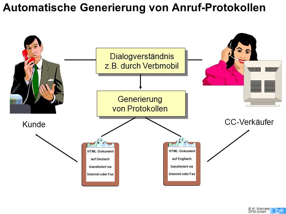 © W. Wahlster DFKI GmbH Dialogverständnis z.B. durch Verbmobil Generierung von Protokollen HTML-Dokument auf Deutsch transferiert via Internet oder Fa
