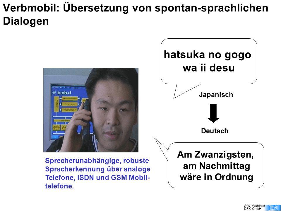 © W. Wahlster DFKI GmbH hatsuka no gogo wa ii desu Am Zwanzigsten, am Nachmittag wäre in Ordnung Sprecherunabhängige, robuste Spracherkennung über ana