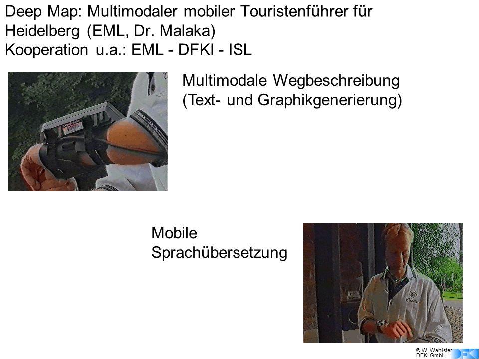 © W. Wahlster DFKI GmbH Multimodale Wegbeschreibung (Text- und Graphikgenerierung) Mobile Sprachübersetzung Deep Map: Multimodaler mobiler Touristenfü