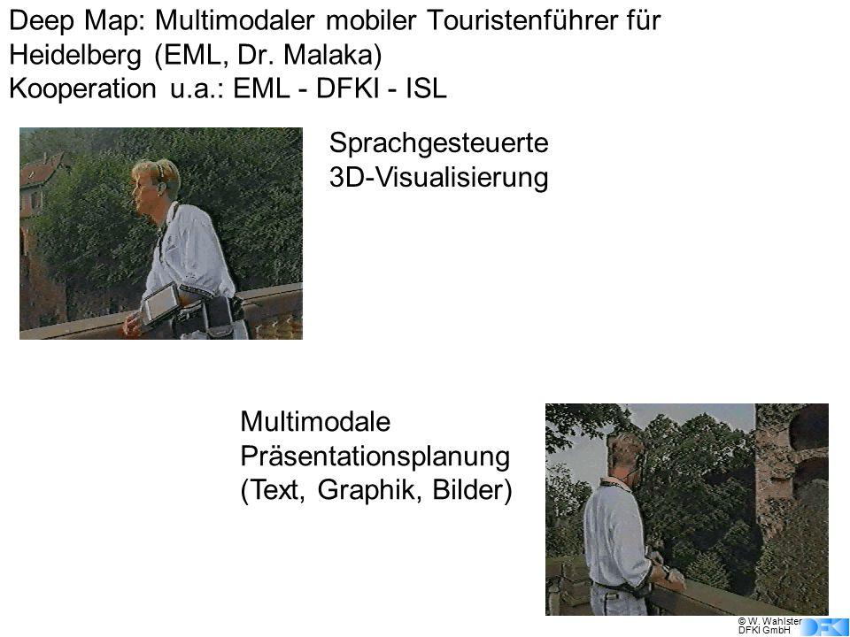 © W. Wahlster DFKI GmbH Sprachgesteuerte 3D-Visualisierung Multimodale Präsentationsplanung (Text, Graphik, Bilder) Deep Map: Multimodaler mobiler Tou
