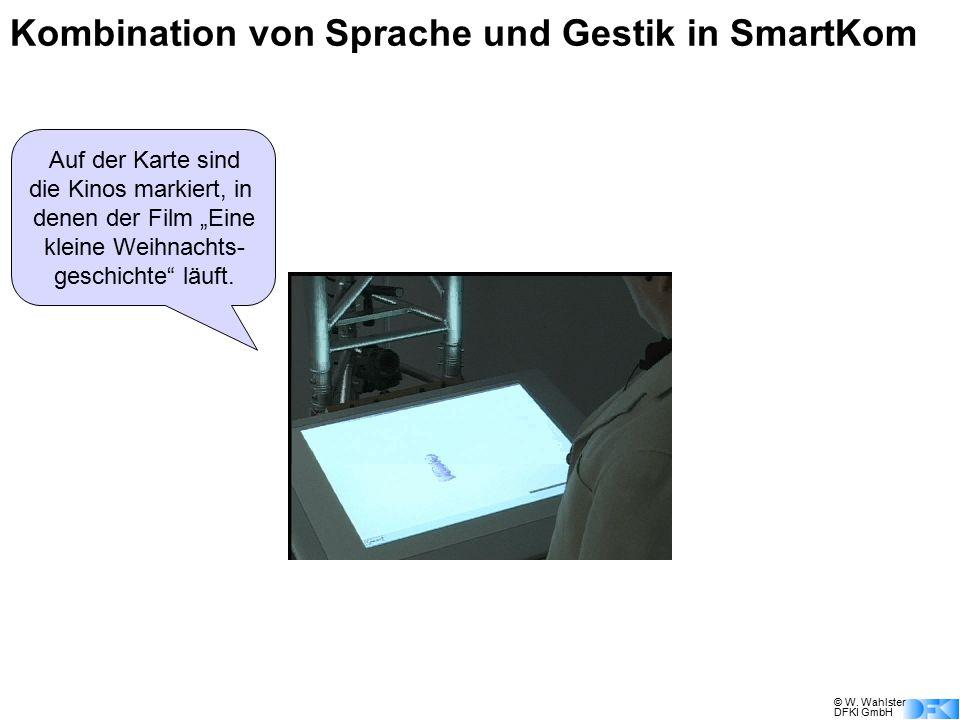 © W. Wahlster DFKI GmbH Welche Spielfilme laufen den heute abend im Fernsehen? Kombination von Sprache und Gestik in SmartKom Ich zeige ihnen eine Übe