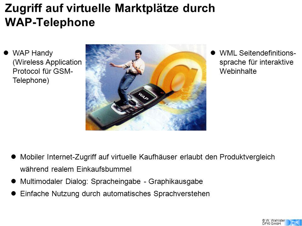 © W. Wahlster DFKI GmbH Zugriff auf virtuelle Marktplätze durch WAP-Telephone WAP Handy (Wireless Application Protocol für GSM- Telephone) WML Seitend