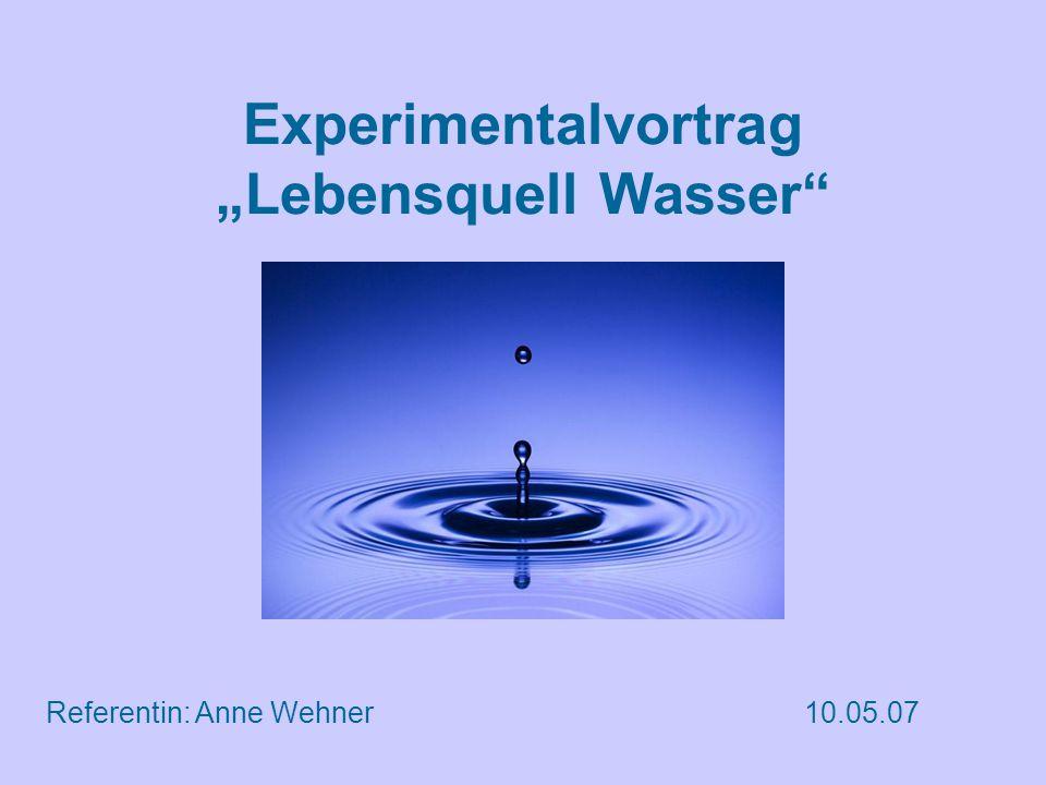 """Experimentalvortrag """"Lebensquell Wasser Referentin: Anne Wehner10.05.07"""
