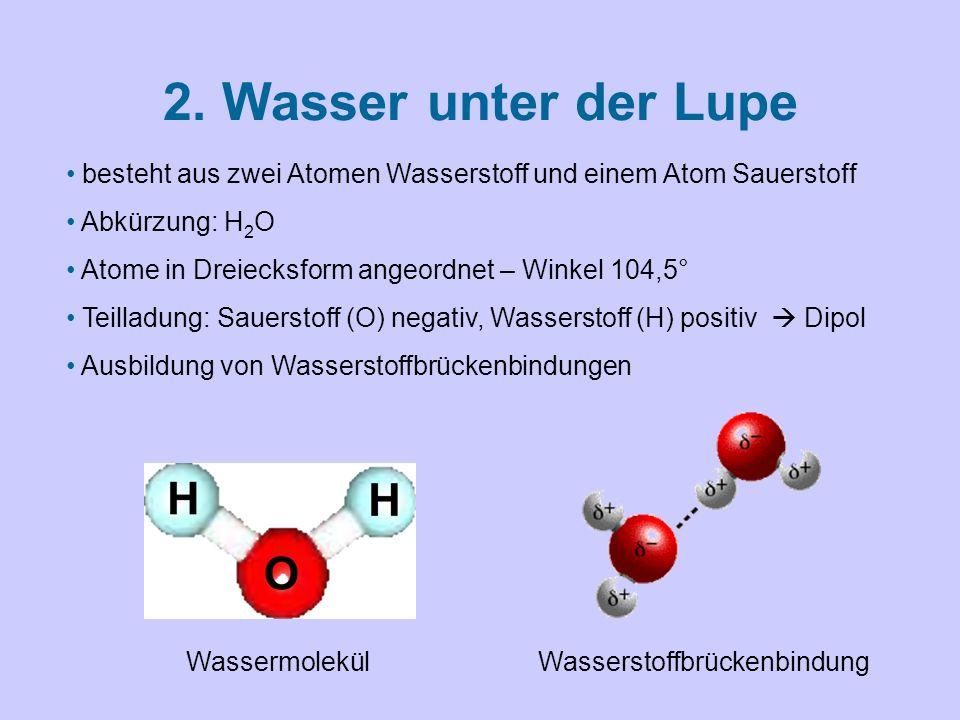 2. Wasser unter der Lupe besteht aus zwei Atomen Wasserstoff und einem Atom Sauerstoff Abkürzung: H 2 O Atome in Dreiecksform angeordnet – Winkel 104,