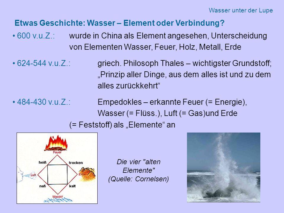 Etwas Geschichte: Wasser – Element oder Verbindung.