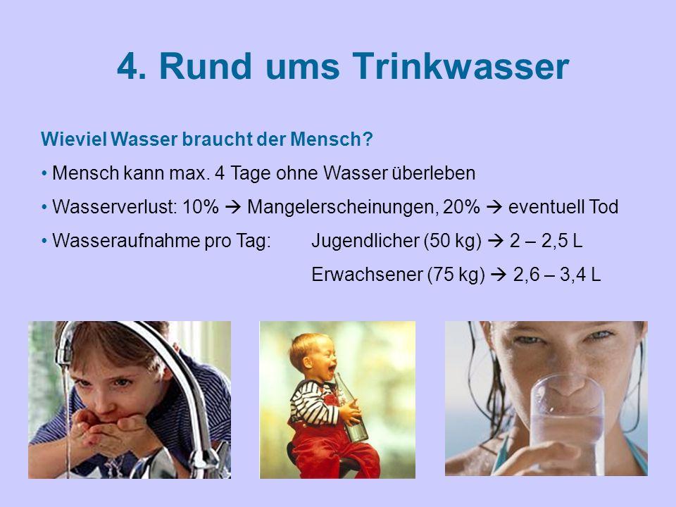 4.Rund ums Trinkwasser Wieviel Wasser braucht der Mensch.