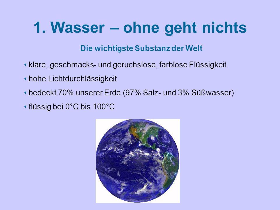 1. Wasser – ohne geht nichts klare, geschmacks- und geruchslose, farblose Flüssigkeit hohe Lichtdurchlässigkeit bedeckt 70% unserer Erde (97% Salz- un