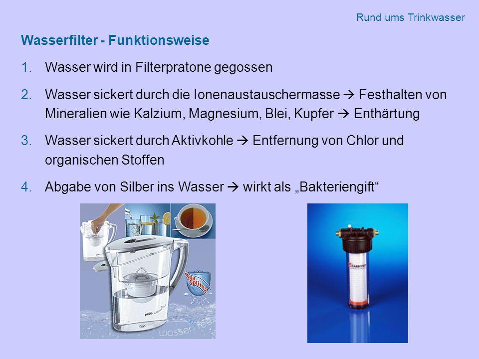 """Wasserfilter - Funktionsweise 1.Wasser wird in Filterpratone gegossen 2.Wasser sickert durch die Ionenaustauschermasse  Festhalten von Mineralien wie Kalzium, Magnesium, Blei, Kupfer  Enthärtung 3.Wasser sickert durch Aktivkohle  Entfernung von Chlor und organischen Stoffen 4.Abgabe von Silber ins Wasser  wirkt als """"Bakteriengift Rund ums Trinkwasser"""