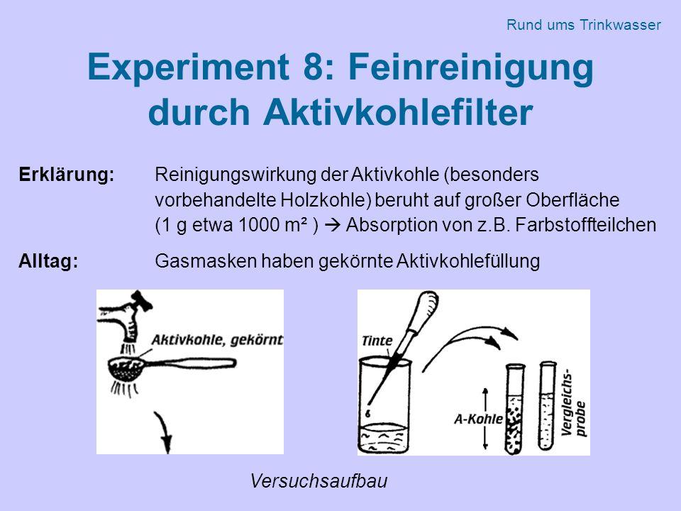 Experiment 8: Feinreinigung durch Aktivkohlefilter Erklärung: Reinigungswirkung der Aktivkohle (besonders vorbehandelte Holzkohle) beruht auf großer Oberfläche (1 g etwa 1000 m² )  Absorption von z.B.