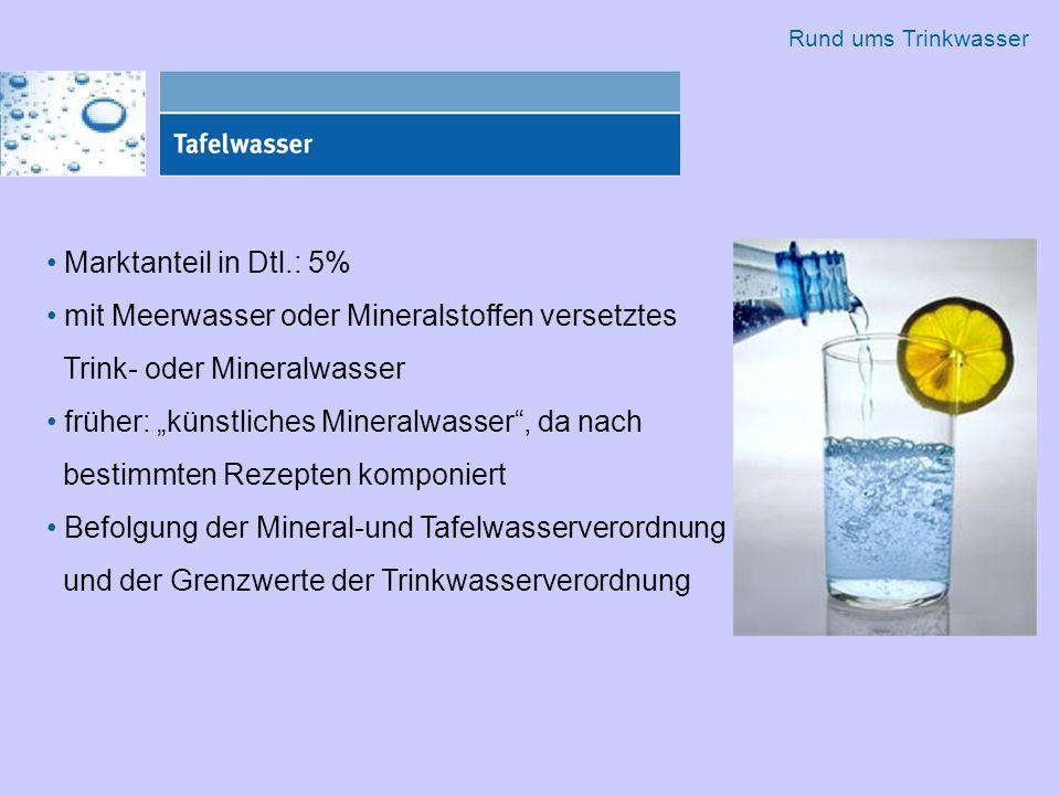 """Marktanteil in Dtl.: 5% mit Meerwasser oder Mineralstoffen versetztes Trink- oder Mineralwasser früher: """"künstliches Mineralwasser , da nach bestimmten Rezepten komponiert Befolgung der Mineral-und Tafelwasserverordnung und der Grenzwerte der Trinkwasserverordnung Rund ums Trinkwasser"""