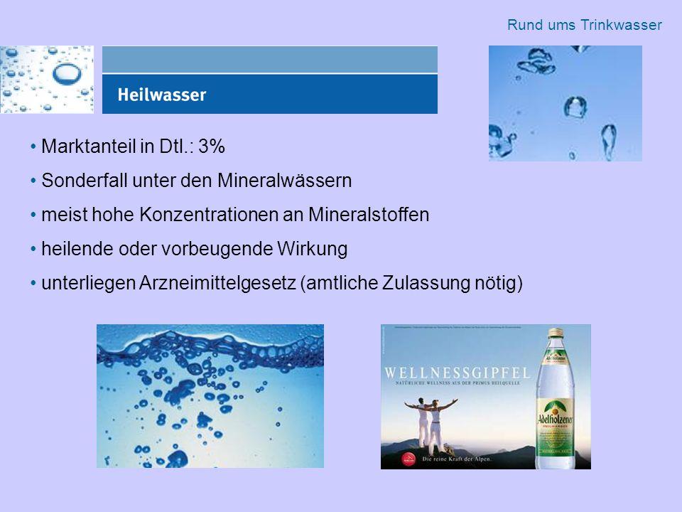 Marktanteil in Dtl.: 3% Sonderfall unter den Mineralwässern meist hohe Konzentrationen an Mineralstoffen heilende oder vorbeugende Wirkung unterliegen Arzneimittelgesetz (amtliche Zulassung nötig) Rund ums Trinkwasser