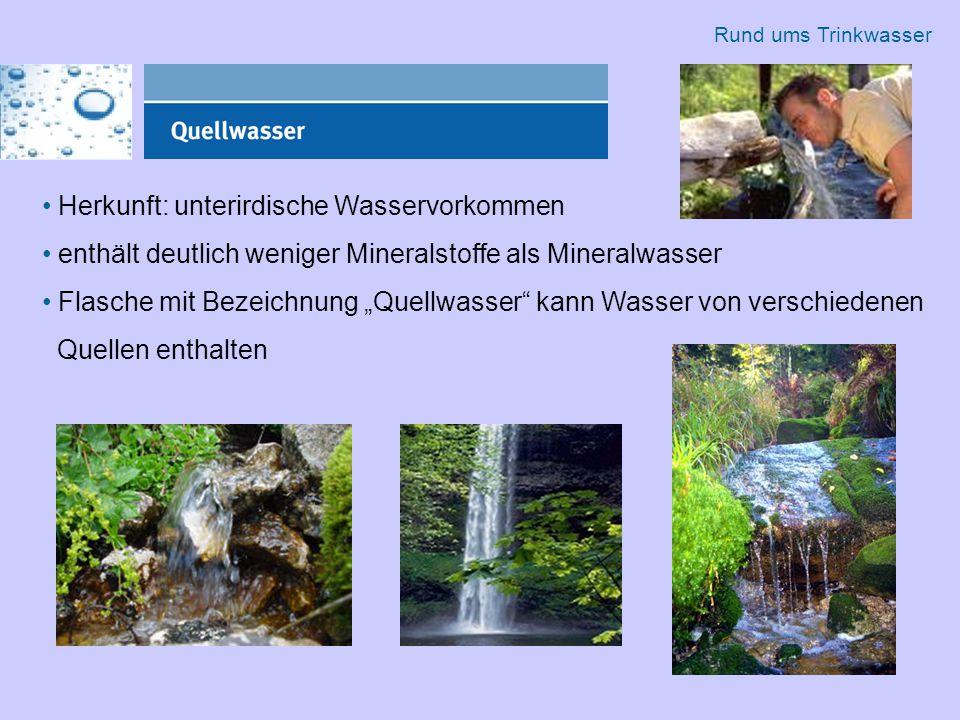 """Herkunft: unterirdische Wasservorkommen enthält deutlich weniger Mineralstoffe als Mineralwasser Flasche mit Bezeichnung """"Quellwasser kann Wasser von verschiedenen Quellen enthalten Rund ums Trinkwasser"""