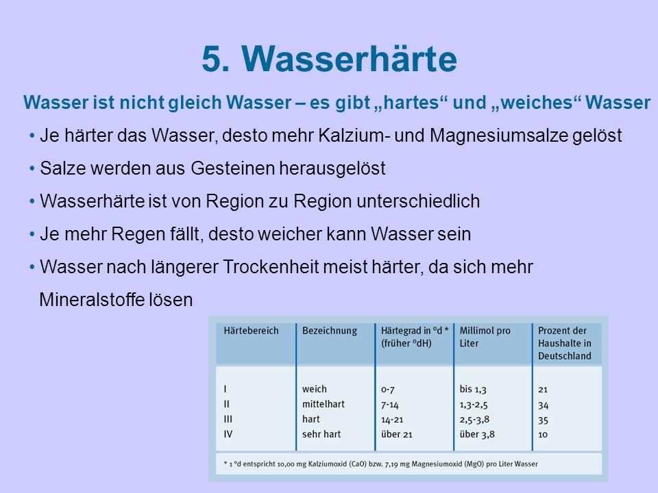 """5. Wasserhärte Wasser ist nicht gleich Wasser – es gibt """"hartes"""" und """"weiches"""" Wasser Je härter das Wasser, desto mehr Kalzium- und Magnesiumsalze gel"""