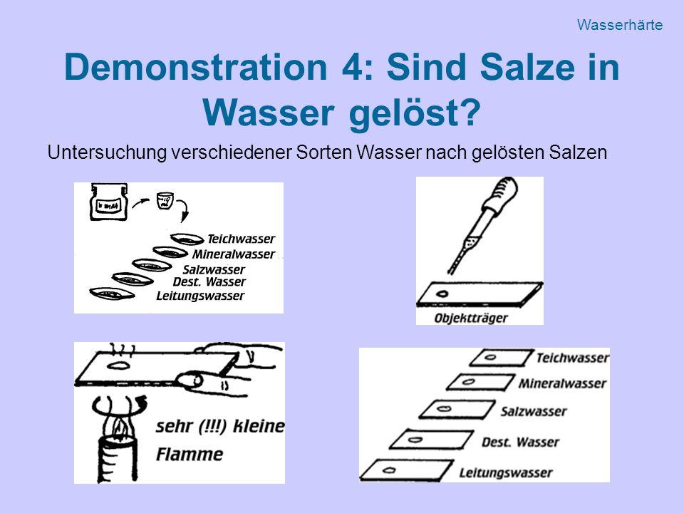 Demonstration 4: Sind Salze in Wasser gelöst.