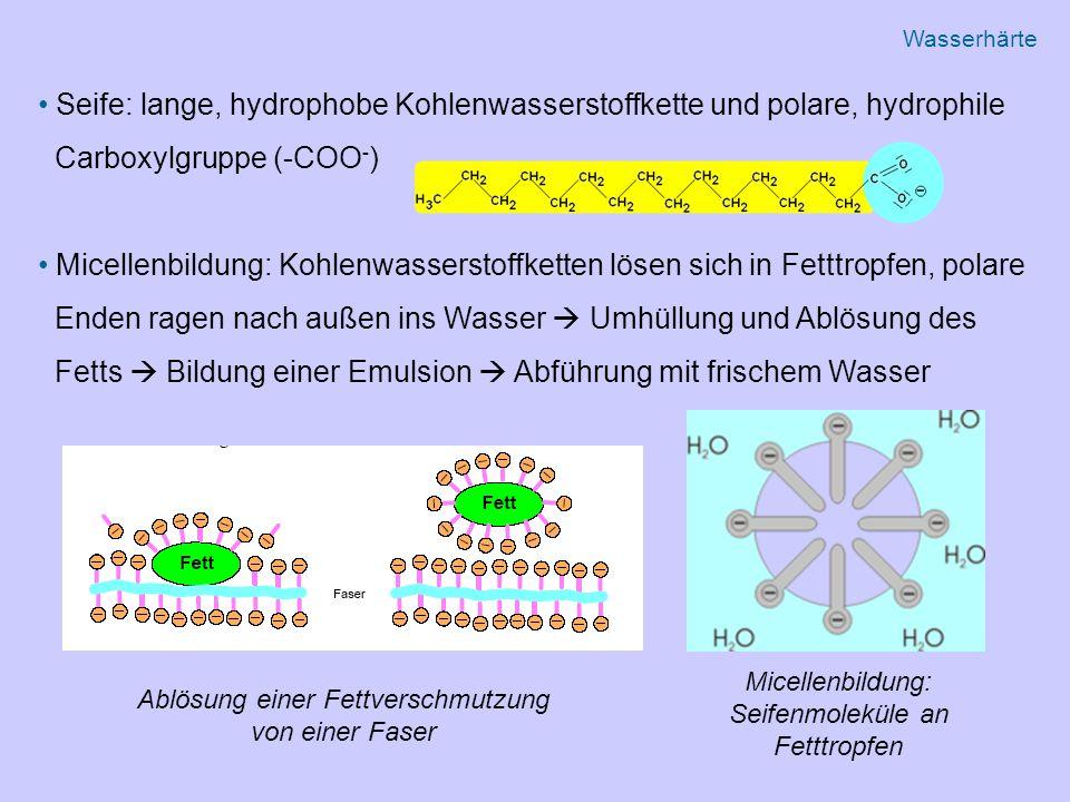 Seife: lange, hydrophobe Kohlenwasserstoffkette und polare, hydrophile Carboxylgruppe (-COO - ) Micellenbildung: Kohlenwasserstoffketten lösen sich in Fetttropfen, polare Enden ragen nach außen ins Wasser  Umhüllung und Ablösung des Fetts  Bildung einer Emulsion  Abführung mit frischem Wasser Ablösung einer Fettverschmutzung von einer Faser Micellenbildung: Seifenmoleküle an Fetttropfen Wasserhärte