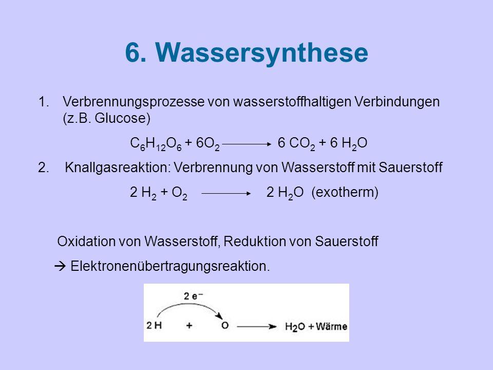 6.Wassersynthese 1.Verbrennungsprozesse von wasserstoffhaltigen Verbindungen (z.B.