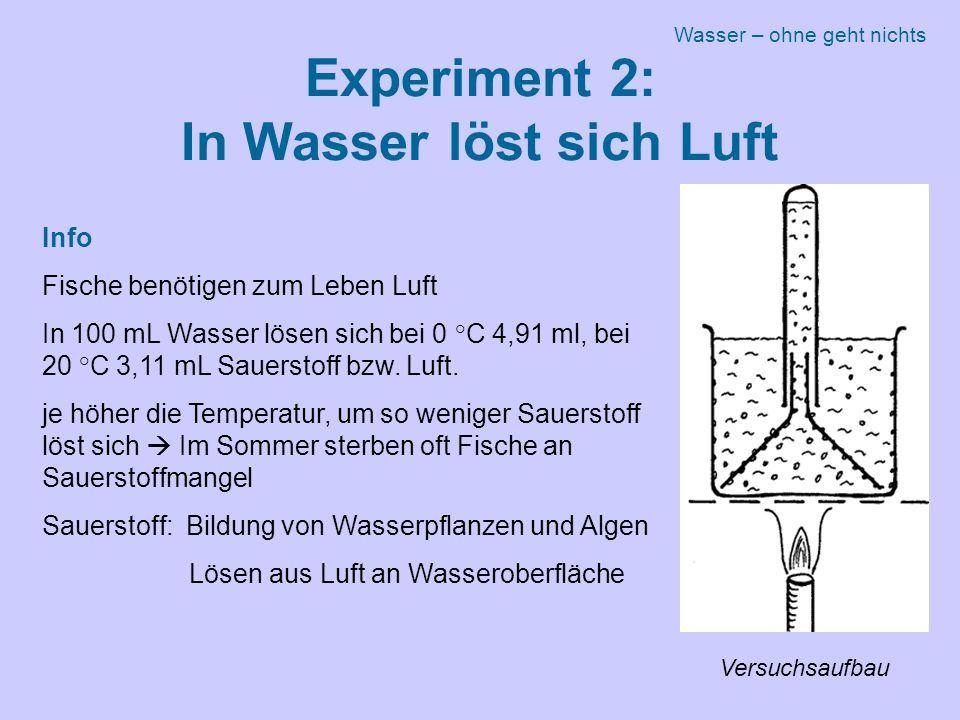 Experiment 2: In Wasser löst sich Luft Info Fische benötigen zum Leben Luft In 100 mL Wasser lösen sich bei 0 °C 4,91 ml, bei 20 °C 3,11 mL Sauerstoff bzw.