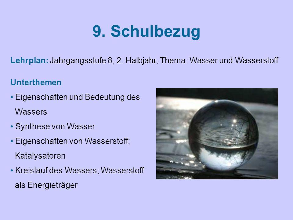 9. Schulbezug Unterthemen Eigenschaften und Bedeutung des Wassers Synthese von Wasser Eigenschaften von Wasserstoff; Katalysatoren Kreislauf des Wasse