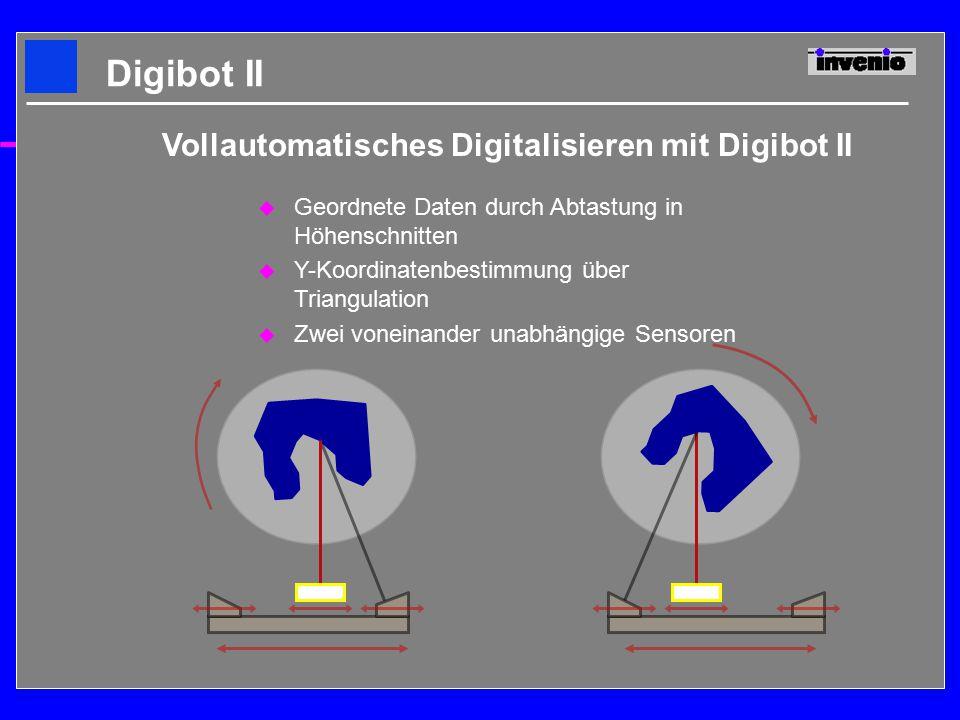 u Geordnete Daten durch Abtastung in Höhenschnitten u Y-Koordinatenbestimmung über Triangulation u Zwei voneinander unabhängige Sensoren Digibot II Vollautomatisches Digitalisieren mit Digibot II
