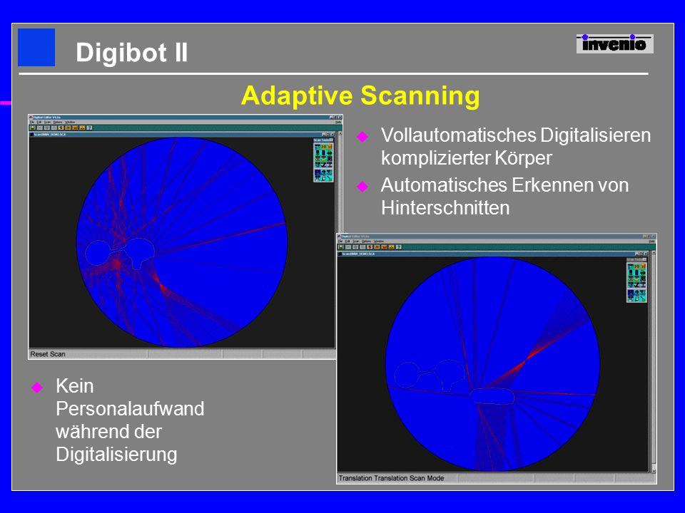 Adaptive Scanning u Vollautomatisches Digitalisieren komplizierter Körper u Automatisches Erkennen von Hinterschnitten u Kein Personalaufwand während der Digitalisierung Digibot II