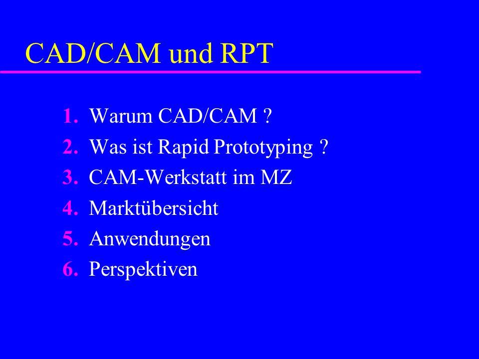 CAD/CAM und RPT 1. Warum CAD/CAM . 2. Was ist Rapid Prototyping .