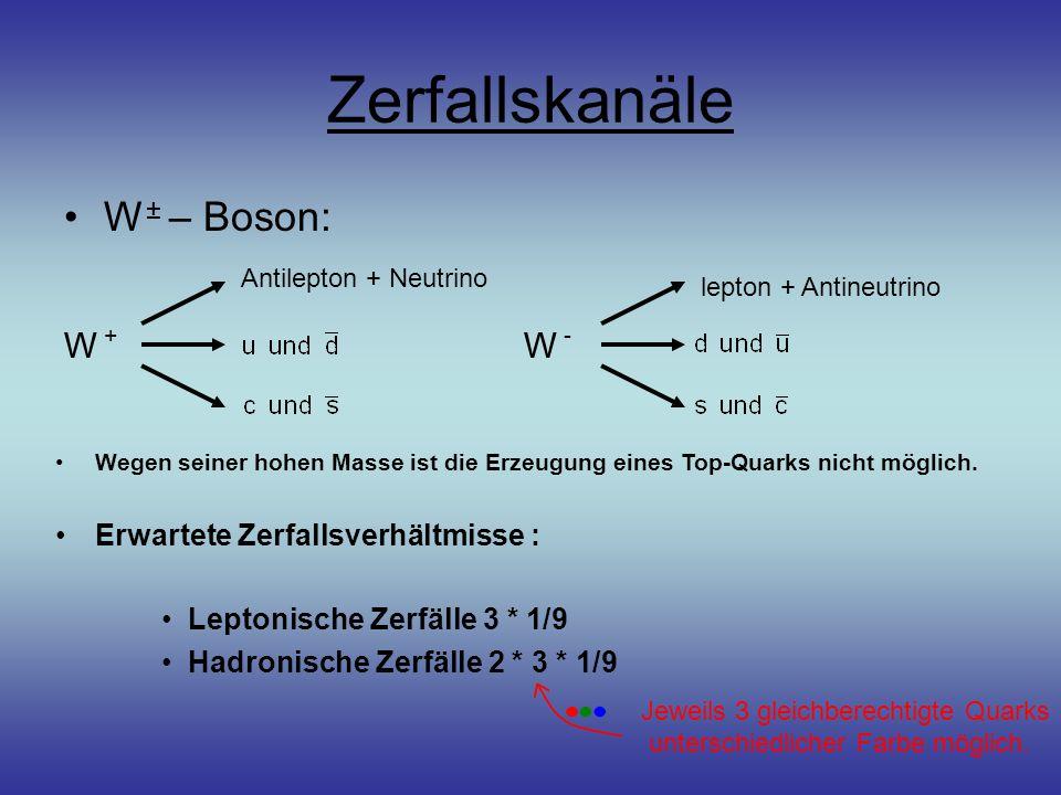 Zerfallskanäle W ± – Boson: Antilepton + Neutrino W + lepton + Antineutrino W - Wegen seiner hohen Masse ist die Erzeugung eines Top-Quarks nicht möglich.
