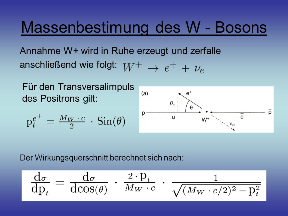 Massenbestimung des W - Bosons Annahme W+ wird in Ruhe erzeugt und zerfalle anschließend wie folgt: Der Wirkungsquerschnitt berechnet sich nach: Für den Transversalimpuls des Positrons gilt: