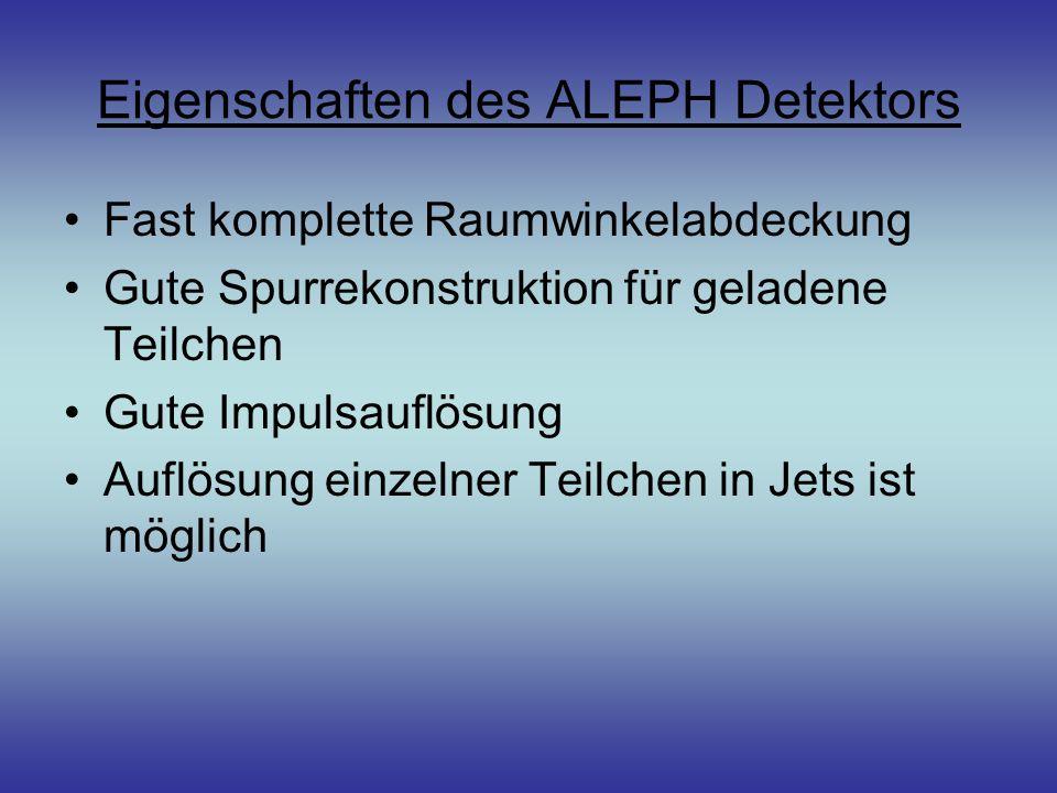 Eigenschaften des ALEPH Detektors Fast komplette Raumwinkelabdeckung Gute Spurrekonstruktion für geladene Teilchen Gute Impulsauflösung Auflösung einz