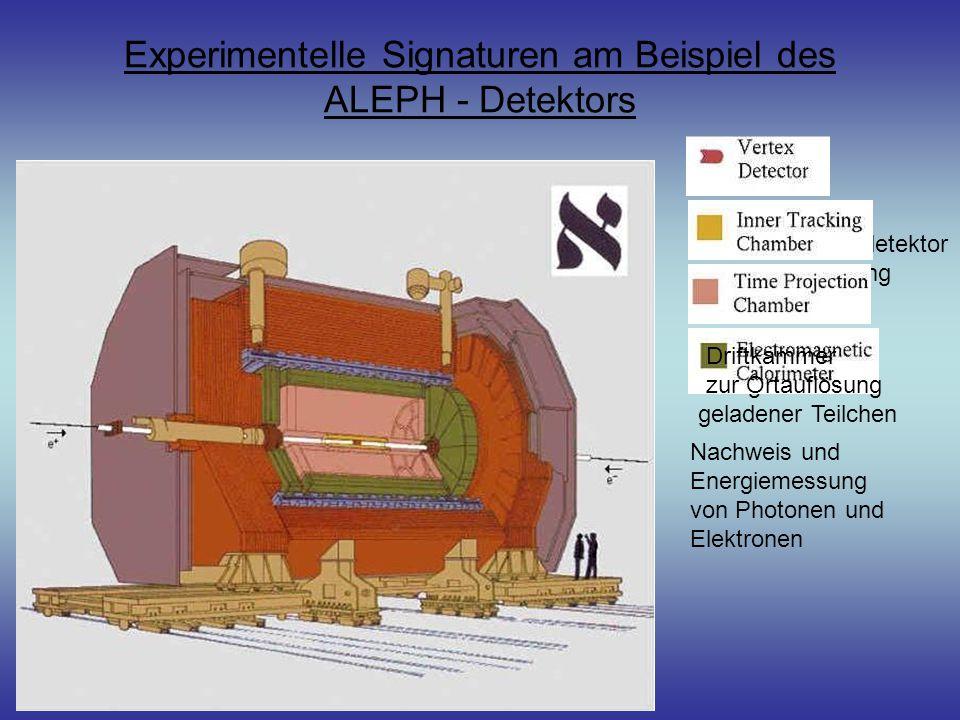 Siliziumstreifendetektor zur Ortsauflösung Experimentelle Signaturen am Beispiel des ALEPH - Detektors Vermessen des Energieverlusts geladener Teilchen Nachweis und Energiemessung von Photonen und Elektronen Driftkammer zur Ortauflösung