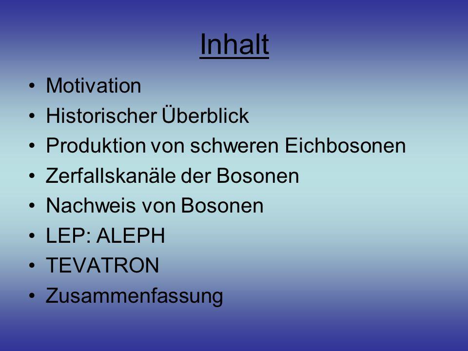 Inhalt Motivation Historischer Überblick Produktion von schweren Eichbosonen Zerfallskanäle der Bosonen Nachweis von Bosonen LEP: ALEPH TEVATRON Zusammenfassung