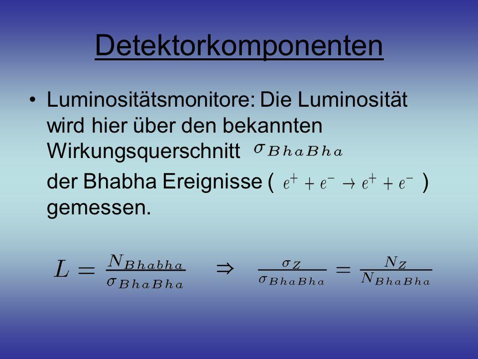 Detektorkomponenten Luminositätsmonitore: Die Luminosität wird hier über den bekannten Wirkungsquerschnitt der Bhabha Ereignisse ( ) gemessen. ⇒