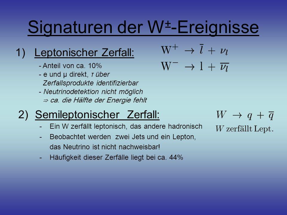 Signaturen der W ± -Ereignisse 1)Leptonischer Zerfall: - Anteil von ca. 10% - e und μ direkt, τ über Zerfallsprodukte identifizierbar - Neutrinodetekt
