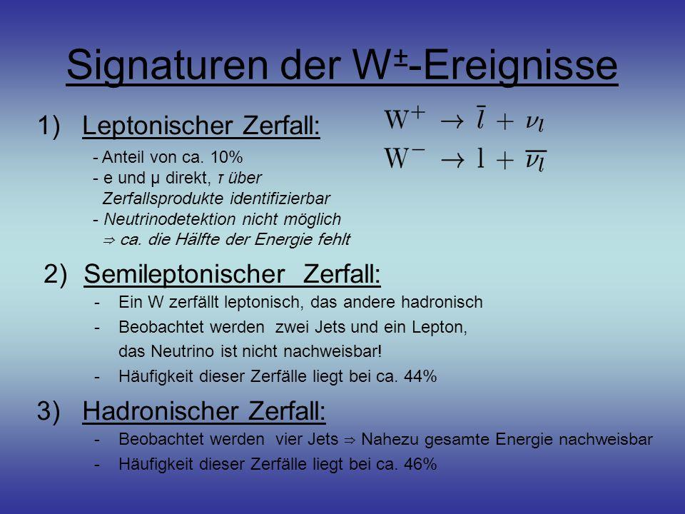 Signaturen der W ± -Ereignisse 1)Leptonischer Zerfall: - Anteil von ca.